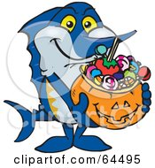 Royalty Free RF Clipart Illustration Of A Trick Or Treating Marlin Holding A Pumpkin Basket Full Of Halloween Candy by Dennis Holmes Designs