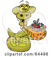 Royalty Free RF Clipart Illustration Of A Trick Or Treating Python Holding A Pumpkin Basket Full Of Halloween Candy