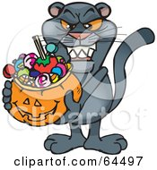 Royalty Free RF Clipart Illustration Of A Trick Or Treating Panther Holding A Pumpkin Basket Full Of Halloween Candy