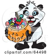 Royalty Free RF Clipart Illustration Of A Trick Or Treating Panda Holding A Pumpkin Basket Full Of Halloween Candy