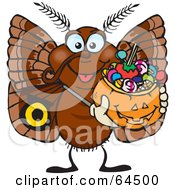 Royalty Free RF Clipart Illustration Of A Trick Or Treating Moth Holding A Pumpkin Basket Full Of Halloween Candy