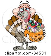 Royalty Free RF Clipart Illustration Of A Trick Or Treating Turkey Holding A Pumpkin Basket Full Of Halloween Candy