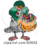 Royalty Free RF Clipart Illustration Of A Trick Or Treating Pigeon Holding A Pumpkin Basket Full Of Halloween Candy
