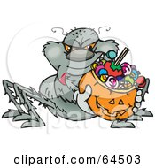 Royalty Free RF Clipart Illustration Of A Trick Or Treating Spider Holding A Pumpkin Basket Full Of Halloween Candy