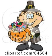 Royalty Free RF Clipart Illustration Of A Trick Or Treating Male Pilgrim Holding A Pumpkin Basket Full Of Halloween Candy