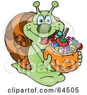 Royalty Free RF Clipart Illustration Of A Trick Or Treating Snail Holding A Pumpkin Basket Full Of Halloween Candy