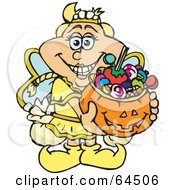 Royalty Free RF Clipart Illustration Of A Trick Or Treating Tooth Fairy Holding A Pumpkin Basket Full Of Halloween Candy