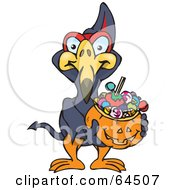 Royalty Free RF Clipart Illustration Of A Trick Or Treating Terradactyl Holding A Pumpkin Basket Full Of Halloween Candy