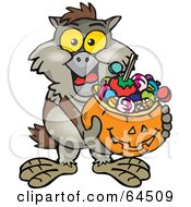 Royalty Free RF Clipart Illustration Of A Trick Or Treating Owl Holding A Pumpkin Basket Full Of Halloween Candy