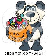 Royalty Free RF Clipart Illustration Of A Trick Or Treating Giant Panda Holding A Pumpkin Basket Full Of Halloween Candy