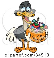Royalty Free RF Clipart Illustration Of A Trick Or Treating Ostrich Holding A Pumpkin Basket Full Of Halloween Candy