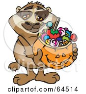 Royalty Free RF Clipart Illustration Of A Trick Or Treating Sloth Holding A Pumpkin Basket Full Of Halloween Candy