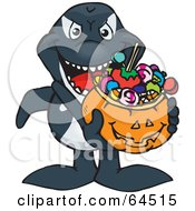 Royalty Free RF Clipart Illustration Of A Trick Or Treating Orca Holding A Pumpkin Basket Full Of Halloween Candy