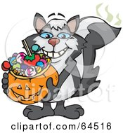 Trick Or Treating Skunk Holding A Pumpkin Basket Full Of Halloween Candy
