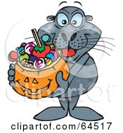 Royalty Free RF Clipart Illustration Of A Trick Or Treating Seal Holding A Pumpkin Basket Full Of Halloween Candy