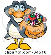 Trick Or Treating Penguin Holding A Pumpkin Basket Full Of Halloween Candy