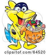 Royalty Free RF Clipart Illustration Of A Trick Or Treating Marine Fish Holding A Pumpkin Basket Full Of Halloween Candy