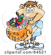 Royalty Free RF Clipart Illustration Of A Trick Or Treating Man Holding A Pumpkin Basket Full Of Halloween Candy Version 5