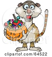 Royalty Free RF Clipart Illustration Of A Trick Or Treating Meerkat Holding A Pumpkin Basket Full Of Halloween Candy by Dennis Holmes Designs
