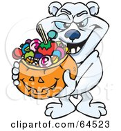 Royalty Free RF Clipart Illustration Of A Trick Or Treating Polar Bear Holding A Pumpkin Basket Full Of Halloween Candy by Dennis Holmes Designs