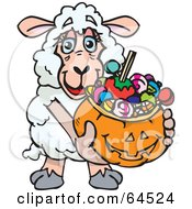 Royalty Free RF Clipart Illustration Of A Trick Or Treating Sheep Holding A Pumpkin Basket Full Of Halloween Candy