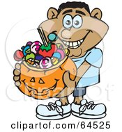 Royalty Free RF Clipart Illustration Of A Trick Or Treating Man Holding A Pumpkin Basket Full Of Halloween Candy Version 7
