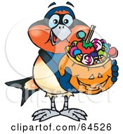 Trick Or Treating Swallow Holding A Pumpkin Basket Full Of Halloween Candy