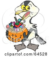 Royalty Free RF Clipart Illustration Of A Trick Or Treating Shag Holding A Pumpkin Basket Full Of Halloween Candy