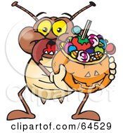Royalty Free RF Clipart Illustration Of A Trick Or Treating Termite Holding A Pumpkin Basket Full Of Halloween Candy by Dennis Holmes Designs