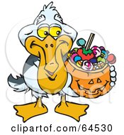 Trick Or Treating Pelican Holding A Pumpkin Basket Full Of Halloween Candy