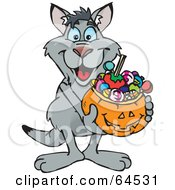 Royalty Free RF Clipart Illustration Of A Trick Or Treating Kangaroo Holding A Pumpkin Basket Full Of Halloween Candy