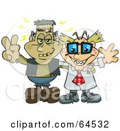 Royalty Free RF Clipart Illustration Of Frankenstein And A Mad Scientist Flashing Peace Signs by Dennis Holmes Designs