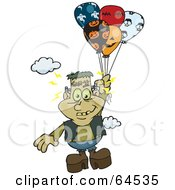 Frankenstein Floating Away With Balloons