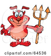 Royalty Free RF Clipart Illustration Of A Sparkey Dog Devil by Dennis Holmes Designs