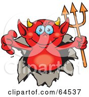 Royalty Free RF Clipart Illustration Of A Red Devil Breaking Through A Wall by Dennis Holmes Designs