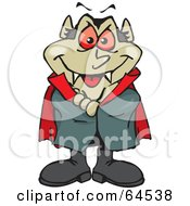 Royalty Free RF Clipart Illustration Of A Vampire Standing With His Arms Crossed by Dennis Holmes Designs
