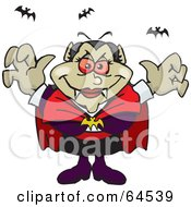 Royalty Free RF Clipart Illustration Of A Menacing Vampiress With Bats