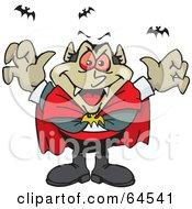 Menacing Vampire With Bats