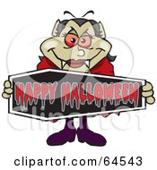 Royalty Free RF Clipart Illustration Of A Vampiress Holding A Happy Halloween Coffin Sign by Dennis Holmes Designs