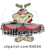 Royalty Free RF Clipart Illustration Of A Sparkey Dog Holding A Happy Halloween Coffin Sign by Dennis Holmes Designs