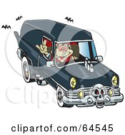 Royalty Free RF Clipart Illustration Of A Peaceful Vampire Driving A Hearse by Dennis Holmes Designs