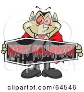 Royalty Free RF Clipart Illustration Of A Vampire Holding A Happy Halloween Coffin Sign by Dennis Holmes Designs