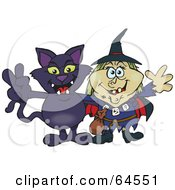 Royalty Free RF Clipart Illustration Of A Black Cat And Witch Gesturing Peace Signs by Dennis Holmes Designs
