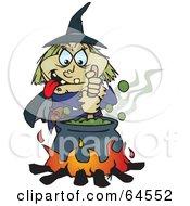 Creepy Witch Stirring A Cauldron