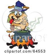 Sparkey Dog Witch Stirring A Cauldron