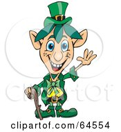 Friendly Waving Blue Eyed Leprechaun