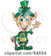 Royalty Free RF Clipart Illustration Of A Friendly Waving Blue Eyed Leprechaun