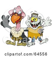 Royalty Free RF Clipart Illustration Of A Vulture And Zombie Gesturing Peace Signs by Dennis Holmes Designs