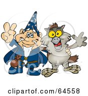 Royalty Free RF Clipart Illustration Of A Wizard And Owl Gesturing Peace Signs by Dennis Holmes Designs