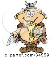 Royalty Free RF Clipart Illustration Of A Man In A Viking Costume For Halloween by Dennis Holmes Designs